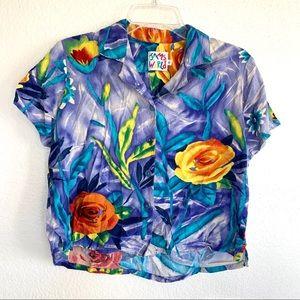 Jams World Vintage 90s Hawaiian Button Up Crop Top
